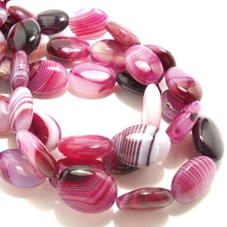 Purple and White Puffed Agate Ovals