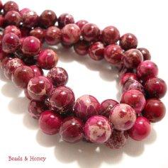 Magenta Impression Stone Beads