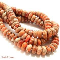 Orange Impression Stone Beads