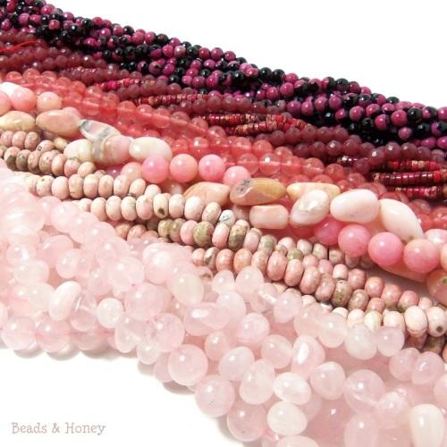 Pink Gemstone Beads - Rose Quartz, Rhodochrosite, Pink Opal, Cherry