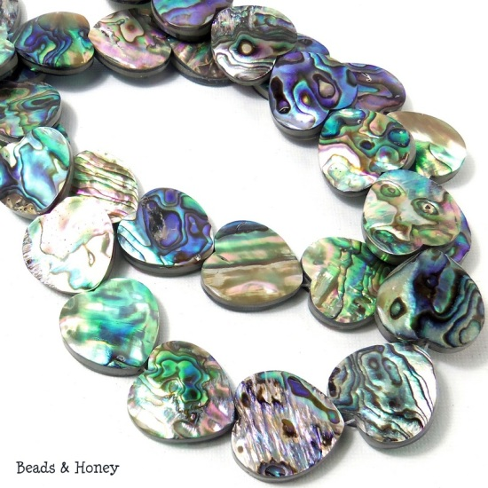 Abalone Shell Heart Beads